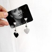 Vintage Punk Acrylic Love Metal Heart Pendant Earrings Multi-layer Shaped Long