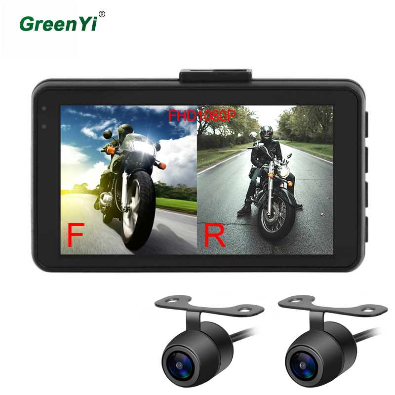 GreenYi MT22 Motorcycle DVR Dash Cam Full HD 1080P+720P Front Rear View Cam Motorcycle