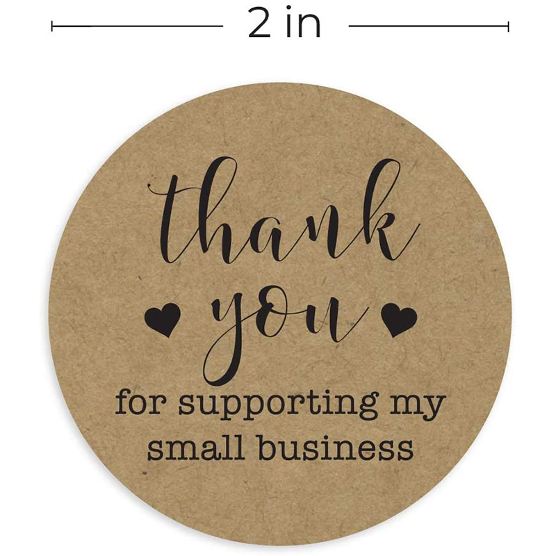 Anniversary Graduation,Birthday 1.5 Inch Round Kraft Paper Thank You Stickers //500 Lables Per Roll//Perfect for Business Events,Customer Appreciation,Gift Package,Wedding