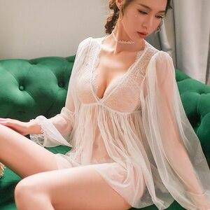 Erotic Underwear Women Sexy Lingerie Female Lace Dress Briefs Ladies Porno Costumes Babydoll Nightwear See Through sex Apparel