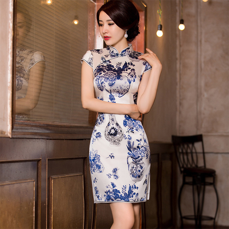 watercolor silk cheongsam qipao a female high end Chinese wind restoring ancient ways cultivate morality substitutingQuinceanera Dresses   -