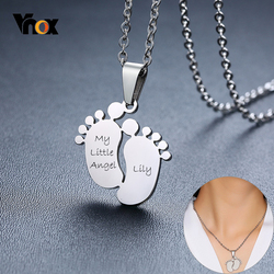 Vnox Cute Footprint Baby Feet ID Pendant Personalize Name Never Fade Stainless Steel Unisex Necklace