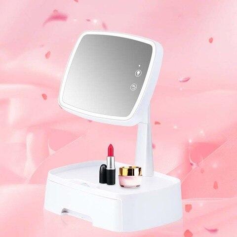 Sensor inteligente led espelho com caixa de armazenamento desktop espelho de maquiagem multi fun o