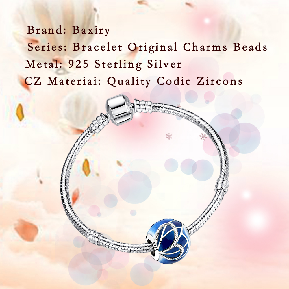 100% 925 Sterling Silver Blue Charms Bracelet DIY Round Beads Fit Bracelet Charms Silver 925 Original Beads Jewelry Making