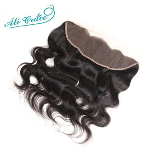 Image 4 - ALI GRACE Hair Brazilian Body Wave Lace Frontal 13X4 Ear To Ear Free Middle Part 100% Remy Human Hair Medium Brown Lace Frontal