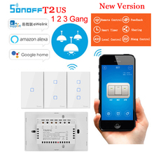 Sonoff T2 US 1 2 3 Gang Smart Switch Wifi Wireless Remote Control Smart Home RF Touch Wall Switch Works With Alexa Google Home sonoff 4ch pro rf wifi smart switch 4 gang 433mhz mounting wireless control wi fi smart switch home light remote 10a 2200w alexa