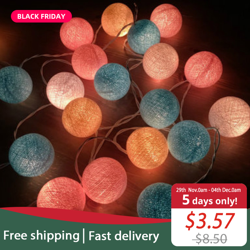 JSEX String Lights LED Fairy Lights Cotton Ball Light Garland Indoor Outdoor Home Decoration Holiday Lighting Night Light G