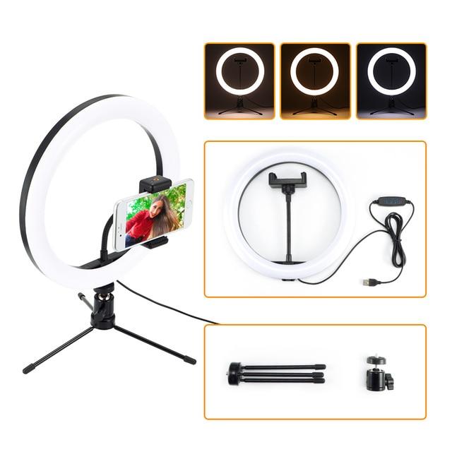 Aro de luz de led para fotografia, disco de luz de led para fotografia, 26cm, ajustável, suporte para telefone, lâmpada para maquiagem, gravação de vídeos estúdio ao vivo