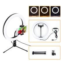 Fotografia LED Selfie lampa pierścieniowa 26CM możliwość przyciemniania aparat telefon lampa pierścieniowa 10 cal ze stołem statywy do wideo do makijażu studio live tanie tanio powstro Bi-color 3200 K-5600 K Ue wtyczka