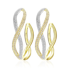 VERY GIRL Newest Luxury 3 Tone Geometry Big Hoop Earrings For Women Wedding DUBAI Bridal Zircon Earring