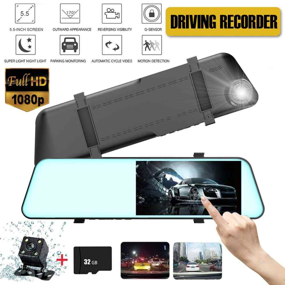 Auto Deel 5.5 Inch Tft Dual Len Hd Auto Suv Dvr Video Dash Camera 1080P Waterdichte G-Sensor video Tachograaf Cam Rijden Recorder