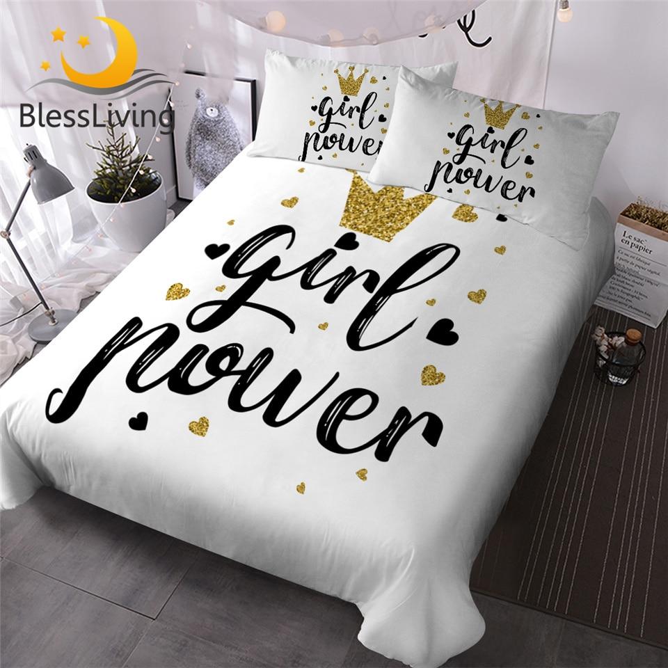 BlessLiving Golden Crown Duvet Cover Set Letter Print Bedding Set Heart Shape Girls Bed Cover Glitter Stylish Home Textiles 3pcs
