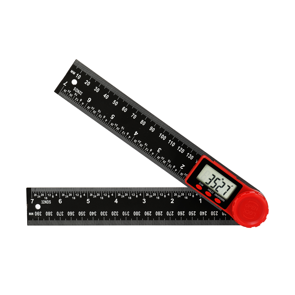 Digital Protractor Ruler 360 Degrees Angle Measurement Angle Finder Inch Metric Scale Rulers Carpenter Tools for Adjusting Angle