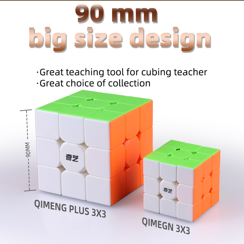 QiYi QiMeng Plus 3x3 90mm Stickerless Magic Cube Big 3x3x3speed cube 9cm antistress cubes Learning Educational Puzzle Cubes Toys 2
