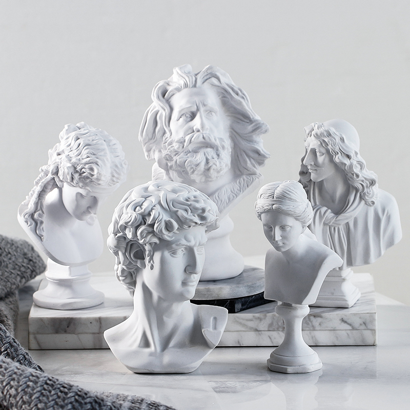 Home Decoration Accessories Retro Small Avatar Decoration Mini Resin Plaster Statue