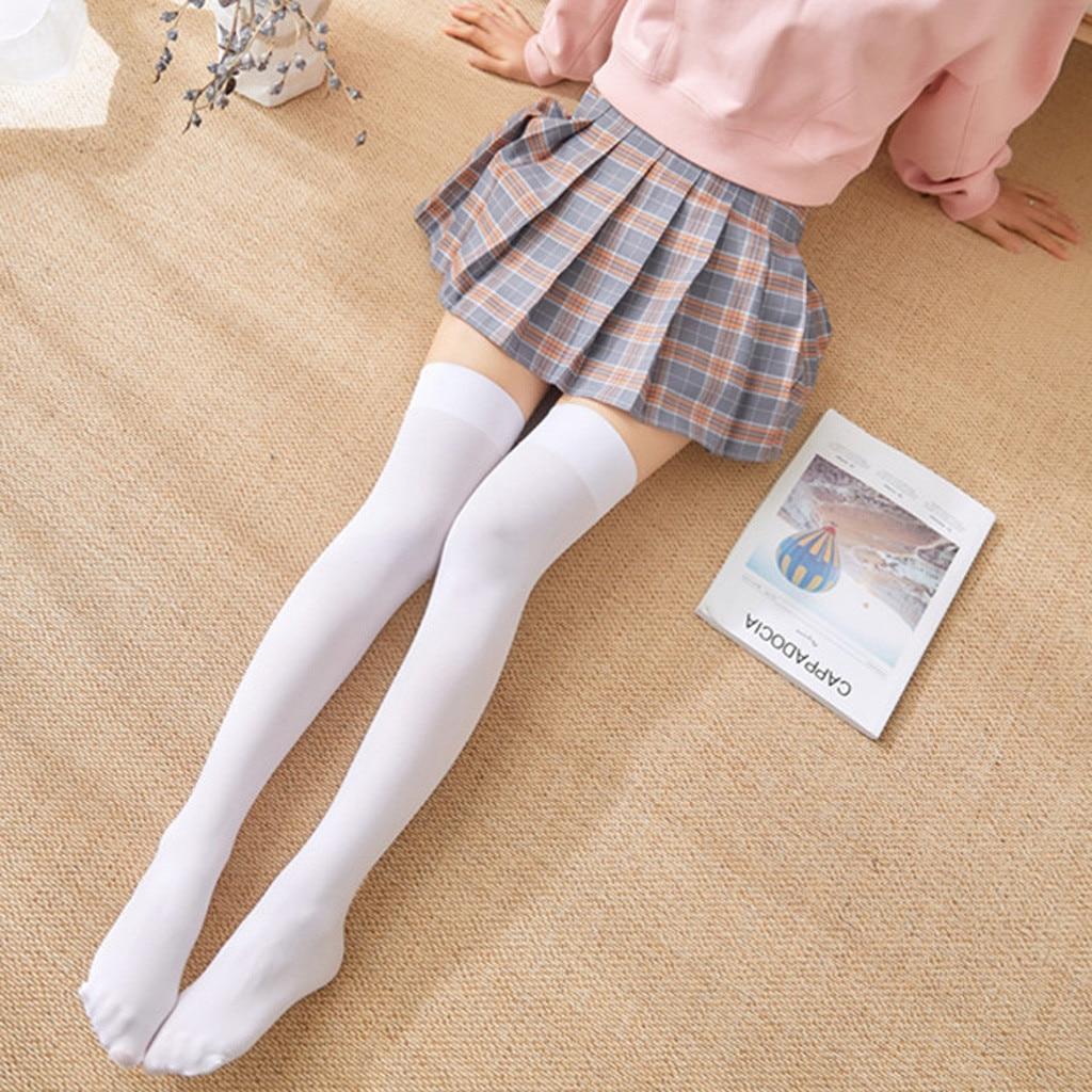 Модные чулки выше колена, 1 пара, Женские однотонные сексуальные чулки, черные, белые, высокое качество, Прямая поставка