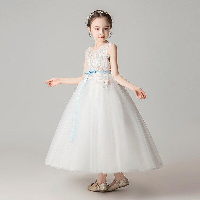 Girls' Shirt Summer New Style Princess Dress Long Skirts Wedding Dress Children's Day Costume Children Host Clothing