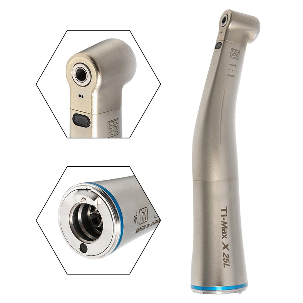 Dental LED Fibre Optic Contra Angle Handpiece 1:1 Air Turbine Inner Water X25L Dental Low Speed Handpiece