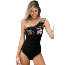 One-Piece Swimming Suit Printed Swimsuit One Piece Bikini Swimming Suit LC412226  swimsuit women one shoulder scalloped trim printed swimsuit