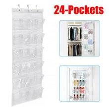 Mais novo útil 24 bolsos sobre a porta atrás sapato organizador rack pendurado organizadores espaço saver rack de armazenamento pendurado cabide