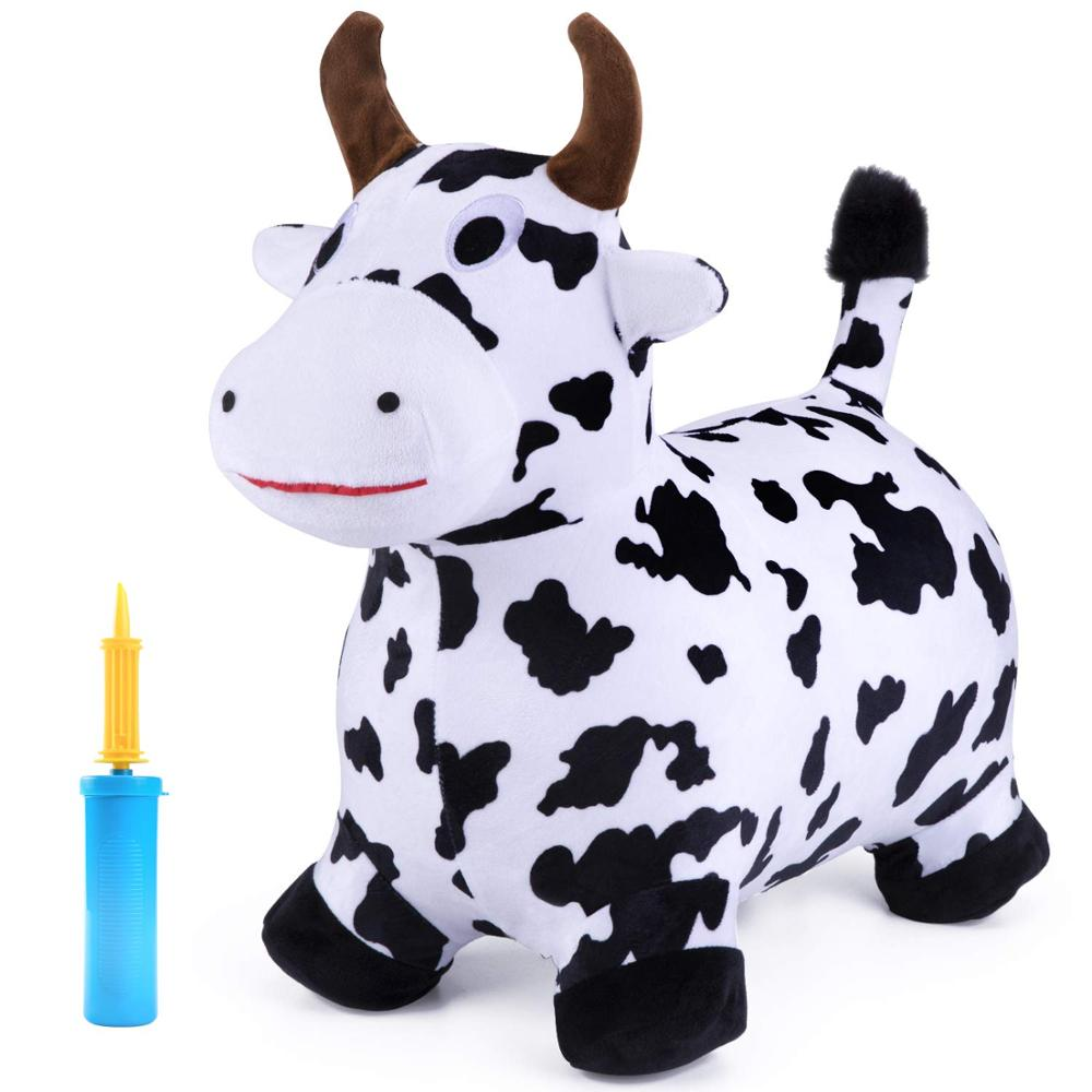 Kids Ride On Bouncy Play Toys Cow Hopping Horse Plush Inflatable Hopper Birthday Gift for 18 24 Months 2 3 4 5 Year Old Boy Girl
