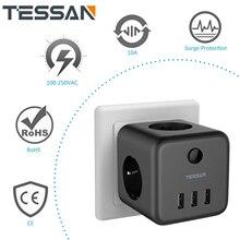 TESSAN штепсельная вилка европейского стандарта с выключателем вкл/выкл 3 розетки переменного тока 3 порта USB для зарядки 5V 2.4A портативная мног...