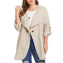 Fashion Women Casual Plus Size Solid Color Loose Long Sleeve Button Tops Coat Trench Belt Slim Y829