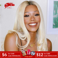 613 Blonde Brazilian Remy Straight Hair Pre Plucked Hairline Human Hair Wigs Blue Red Grey Green Ombre Color 13x4 Lace Front Wig