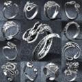 Регулируемый Винтаж серебряного цвета панк дракон кольца для мужчин и женщин новые Лос-Анджелеса разъединяющееся кольцо в готическом стил...