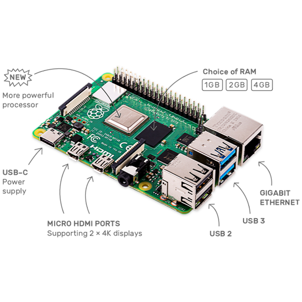 Cortex-A72-1.5ghz Raspberry Pi Bluetooth Dual-Band Original with WIFI 4-Model BCM2711