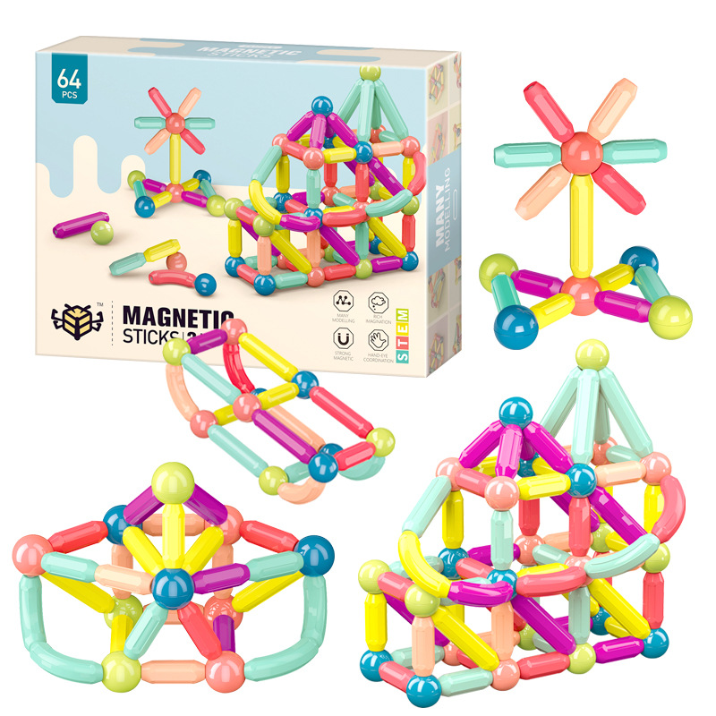 Magnetic Bar Steel Ball Toy Colorful Magnetic Bar Building Toy Early Education Steel Ball Building Blocks Puzzle Toy For Kid's