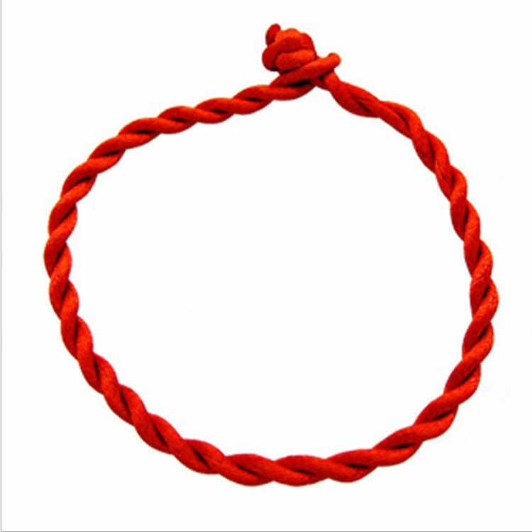 ラフ 4 ミリメートル手織り赤ロープブレスレット約 21 センチメートルの長さ