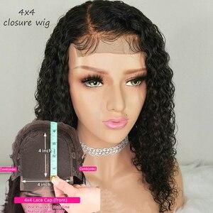 4x4 Peluca de cierre de encaje rizado Peluca de Bob brasileño pelucas cortas de cabello humano para mujeres negras 150% Remy predesplumado cabello de bebé nudos blanqueados