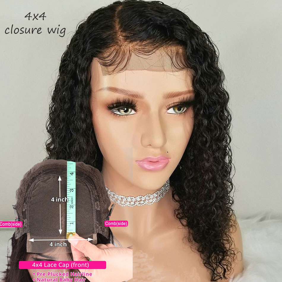 4x4 Curly Lace Closure Wig Brazilian Bob Wig Short Human Hair Wigs For Black Women 150% Remy Preplucked Baby Hair Bleached Knots