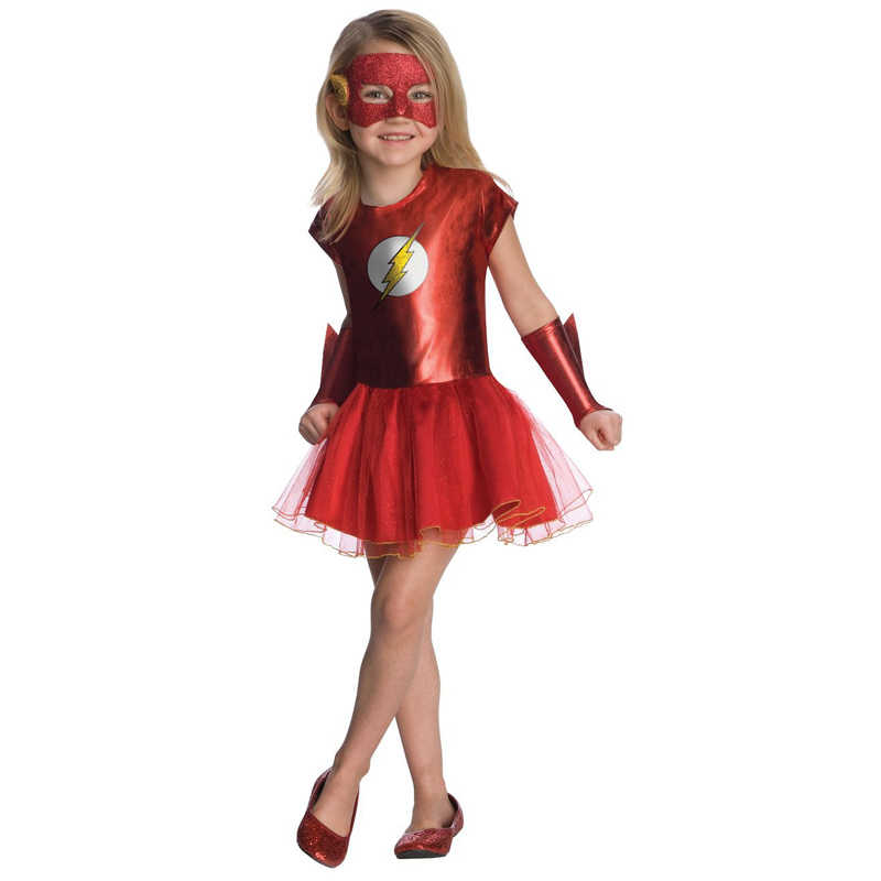 Meisje Movie De Flash Kostuum Kid Superhero Fancy Dress Kind Justice League Dc Comic Halloween Carnaval Fantasia Outfit