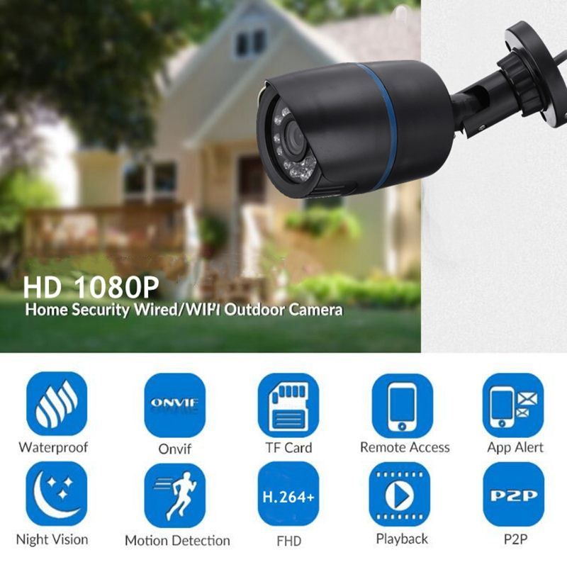 720P WiFi IP Camera Outdoor Onvif Wired Wireless Network CCTV Surveillance Waterproof Infrared Night Vision Home Security Camera