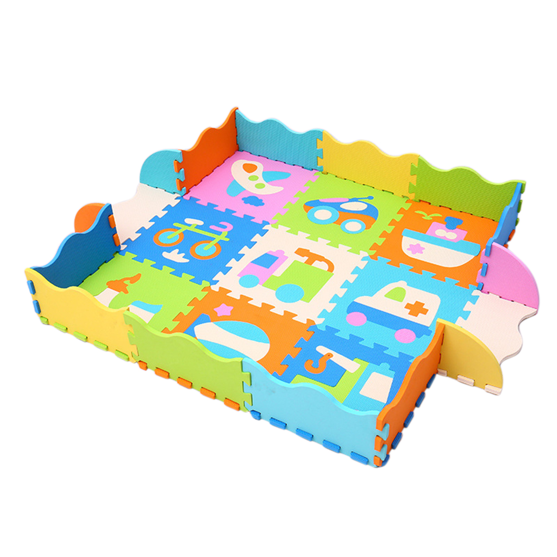 <font><b>30</b></font> X <font><b>30</b></font> X 1cm Cartoon Animal EVA Foam Puzzle Mats Baby Floor Non-Slip Mat Baby Crawling Mats With Fence Shatter-Resistant Pad image