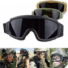 цена на Hot Sale Tactical Glasses 3 Interchangeable Lens Anti-Fog Military Combat Goggles Airsoft Paintball Sport Tactical Glasses