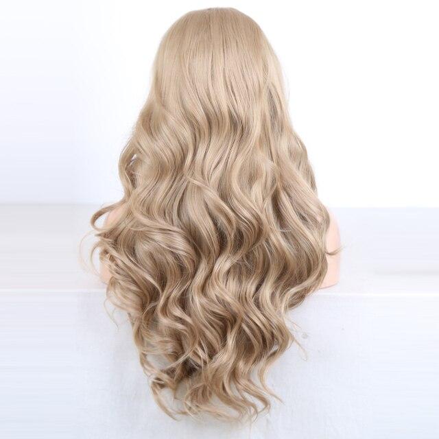 Charyzma długie ciało fala popiołu blond peruka syntetyczna koronka peruka front włókno termoodporne do włosów peruki syntetyczne dla czarnych kobiet