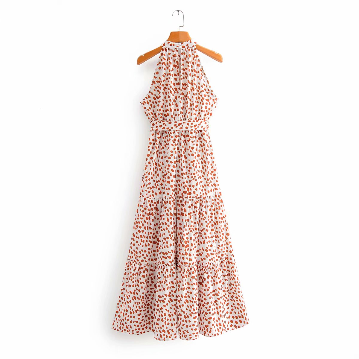 Sexy Off Shoulder Midi Dress Leopard Printing Summer Dress Sashes Sundress Womens Clothes