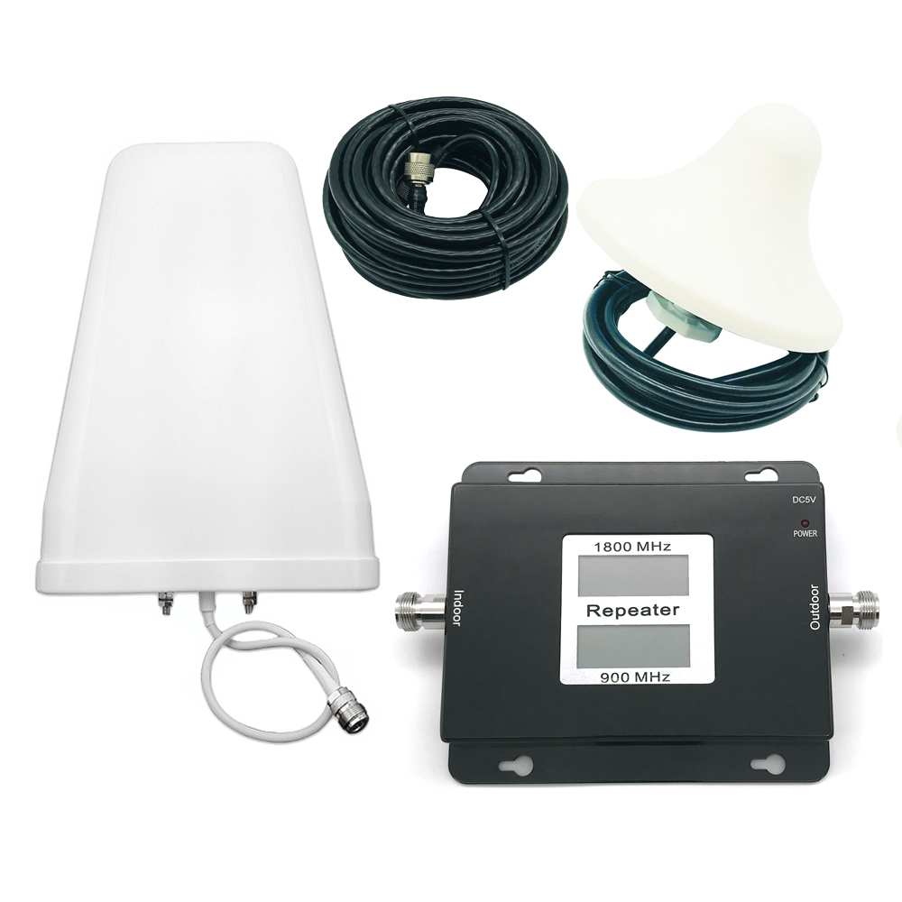 New Dual Band Repeater GSM 900MHz DCS 1800MHz Dual Band Signal Booster Gsm Repeater 850 1800 Signal Amplifier Kit