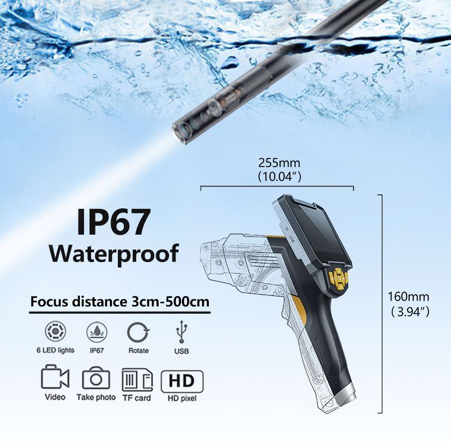 Image 5 - HD Endoscope 1080P 4.3 inch 8mm Inspection Camera for Auto Repair Tool IP67 Waterproof Snake Tube Borescopes 30-in Surveillance Cameras from Security & Protection