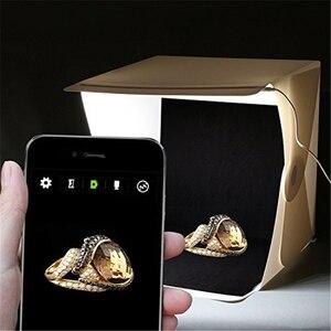 """Image 5 - Mini caja de luz plegable de 24cm / 9 """"para estudio de fotografía, caja de luz LED suave para habitación, caja de fondo de foto de cámara, Kit de tienda de iluminación"""