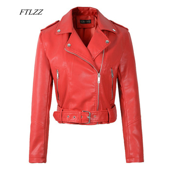 FTLZZ Women Faux Soft Leather Short Jacket Rivet Epaulet Zipper Pu Motorcycle Basic Jackets Female Red Black Outerwear With Belt 1
