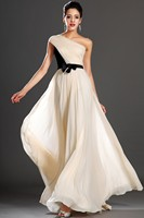 New Fashion vestidos de gala One Shoulder Bow Ivory and Black Stitching color Prom Dresses 2019 Evening Long prom Dress