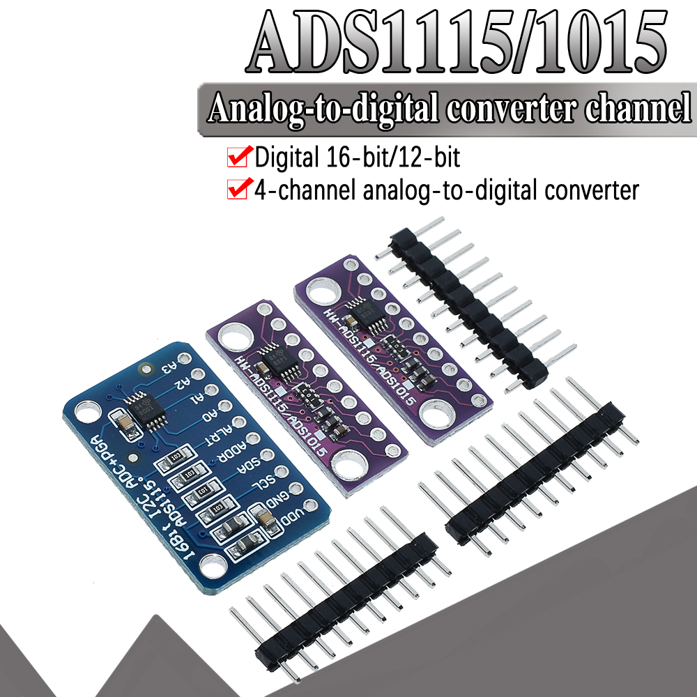 <font><b>16</b></font> <font><b>Bit</b></font> I2C ADS1115 ADS1015 Module <font><b>ADC</b></font> 4 channel with Pro Gain Amplifier 2.0V to 5.5V for <font><b>Arduino</b></font> RPi image