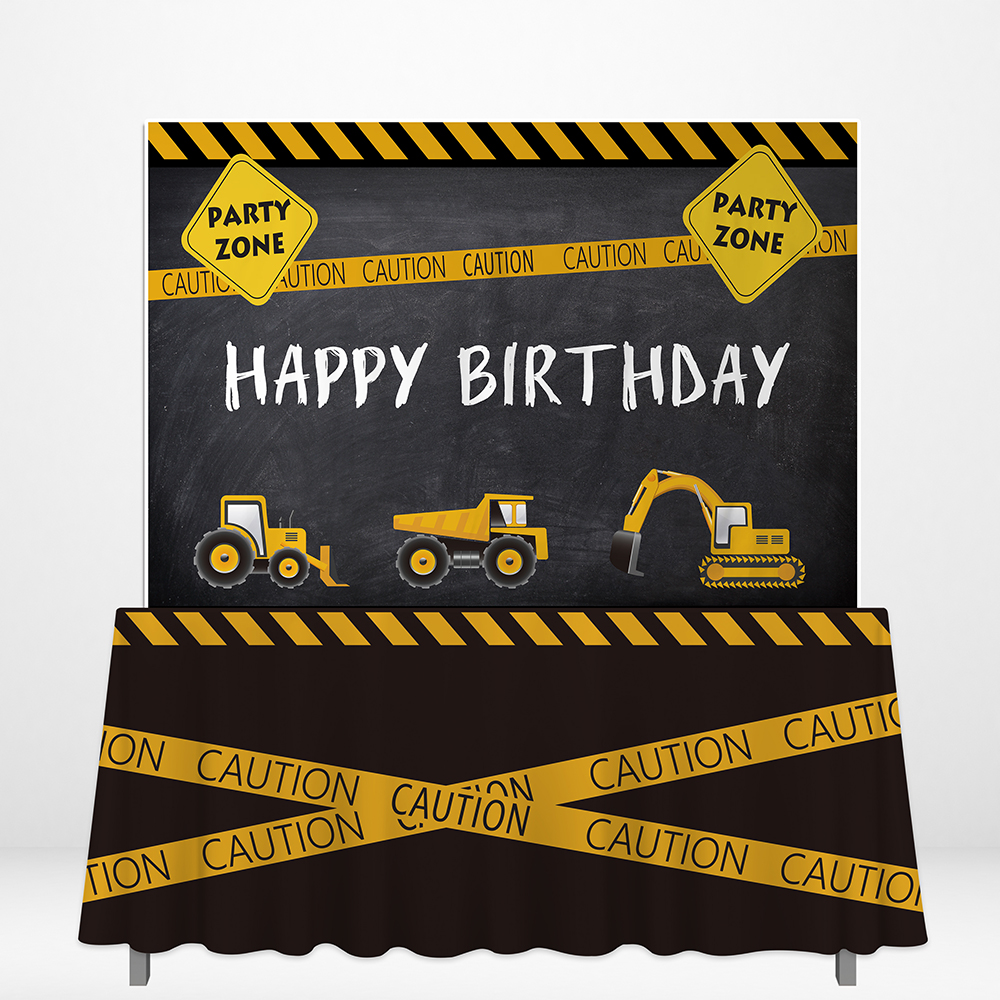 Allenjoy Engineering Team Theme Backdrops Happy Birthday Construction Excavator Table Covers DIY Celebrate Party Decor Supplies