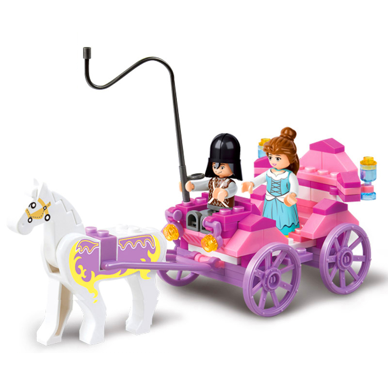 SLUBAN 0239 99Pcs Friends Girl Royal Carriage Wagon Building Blocks Brick Compatible Technic Playmobil Toys For Children image