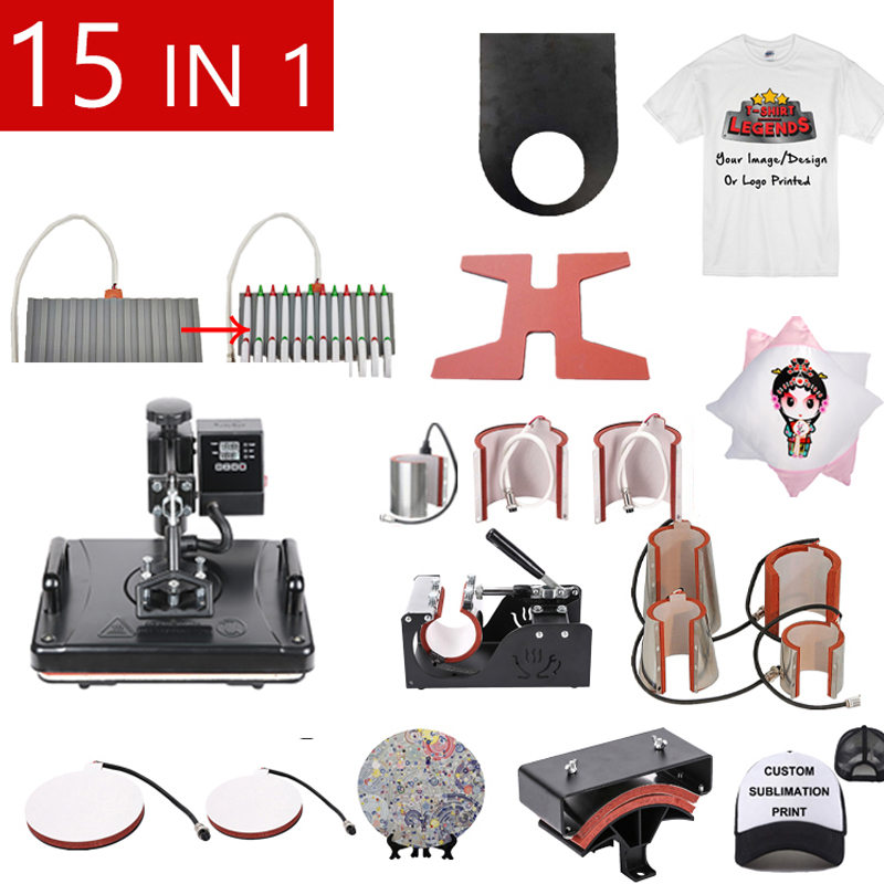15 In 1 Muntifunctional Double Display Heat Transfer/Heat Press Machine Sublimation Label Printer For Mug/Cap/T shirt/Shoes|Printers|   - AliExpress