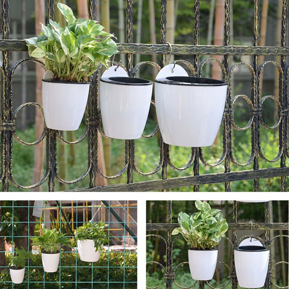Garden Self-watering Plant Flower Pot Wall Hanging Plastic Planter S Green